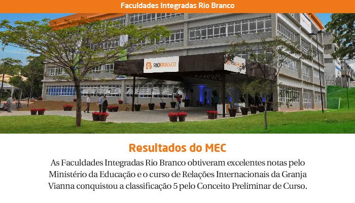 FACULDADES RIO BRANCO E CURSO DE RI ENTRE OS MELHORES DO BRASIL